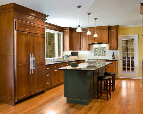 Elegant L Shaped Enclosed Kitchen Photo In Boston With Paneled Appliances,  An Undermount Sink