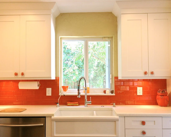 Kitchen Backsplash Orange colorful kitchen backsplash | houzz