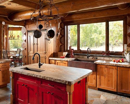 Cabin Kitchen Design log cabin kitchens | houzz