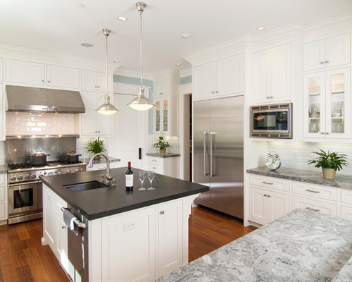 classic kitchens cabinets mixed countertops houzz 5433