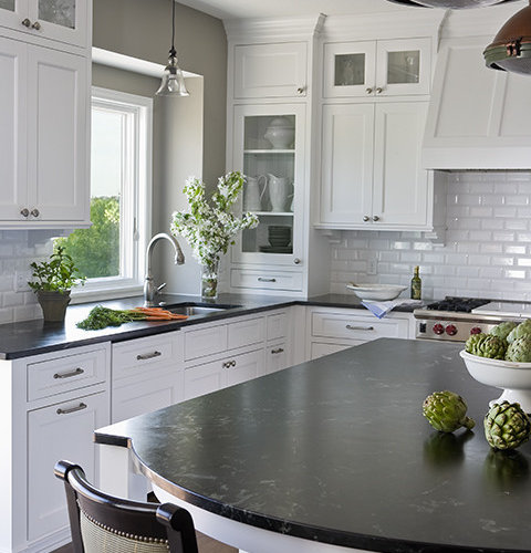 Kitchen sherwin williams pavestone liz schupanitz designs - Aqua Grantique Stone Countertops Houzz