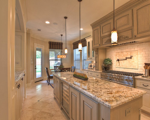 Inspiration For A Timeless Kitchen Remodel In Houston With Glass Front  Cabinets And Stainless Steel