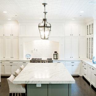 Idées déco pour une cuisine classique en U avec un évier 2 bacs, un placard à porte shaker, des portes de placard blanches, une crédence blanche, un électroménager encastrable et un plan de travail gris.