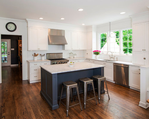 Elegant L Shaped Kitchen Photo In Baltimore With Stainless Steel Liances An Undermount Sink