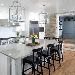 Traditional kitchen appliance - Kitchen - traditional galley light wood floor kitchen idea in Baltimore with an island, an undermount sink, shaker cabinets, white cabinets, white backsplash, subway tile backsplash and stainless steel appliances
