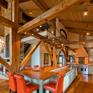 Design ideas for a traditional kitchen in Denver with copper benchtops.