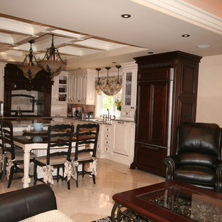 Traditional Kitchen with coffered ceiling