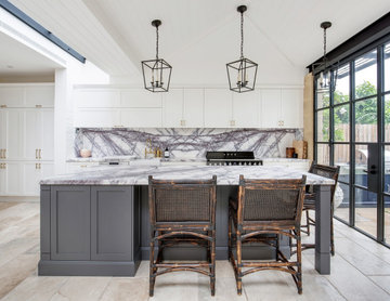 Traditional Kitchen with New York Marble