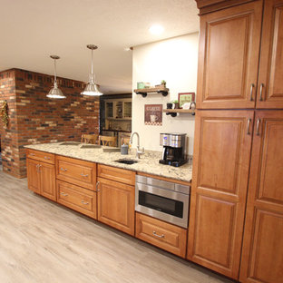 Transitional Kitchen with Quartz Countertop, Window Seat and Wine Bar