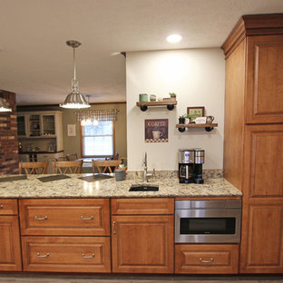 Traditional Kitchen with Quartz Countertop, Window Seat and Coffee Bar