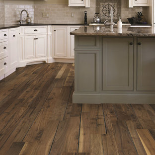 Traditional Kitchen With Walnut Wood Floors