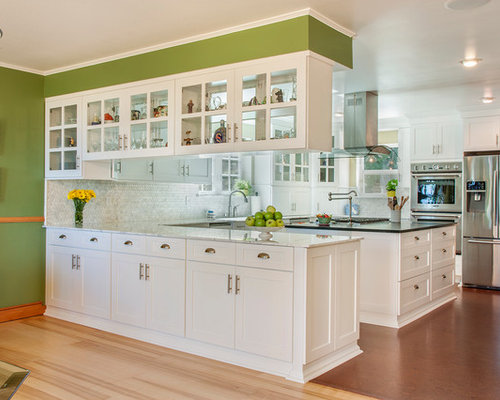 hanging kitchen cabinets. Inspiration for a timeless kitchen remodel in Seattle with shaker cabinets  white Hanging Kitchen Cabinets Houzz