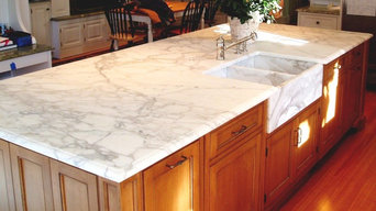 Traditional Marble Island Kitchen with Custom Marble Farmhouse Sink