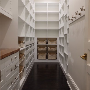 Large traditional kitchen pantry pictures - Kitchen pantry - large traditional u-shaped dark wood floor kitchen pantry idea in Chicago with white cabinets, wood countertops, white backsplash, no island and open cabinets
