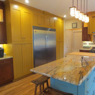 Traditional Shaker Style Kitchen - Cherry, Yellow & Blue