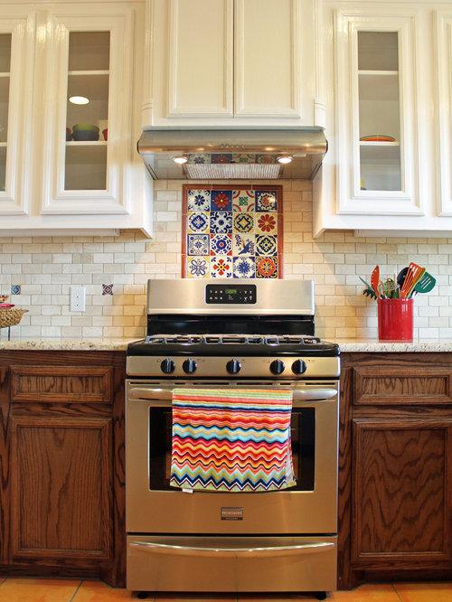southwestern kitchen with terra cotta backsplash design