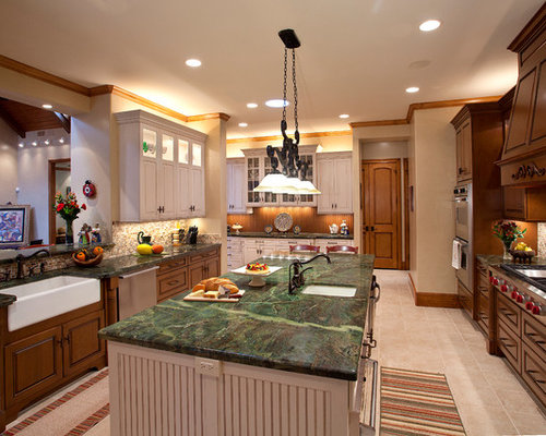 Inspiration For A Large Timeless Galley Beige Floor Eat In Kitchen Remodel Houston With