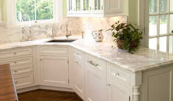 Traditional White Cabinets with Marble Countertops