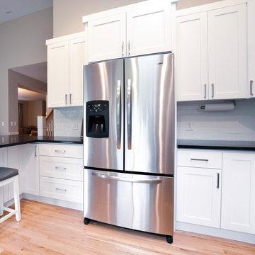 Traditional White Kitchen, Galaxy Granite Countertops - Maple Valley, WA