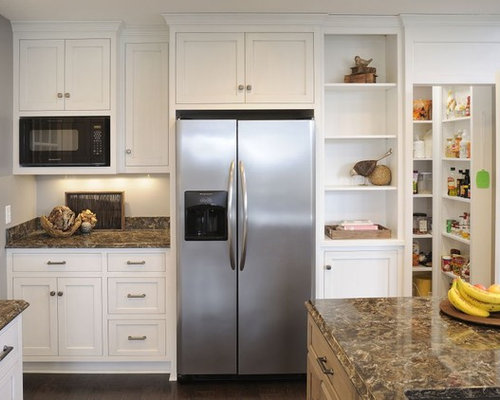 Traditional white kitchen w accent island for Building traditional kitchen cabinets by jim tolpin