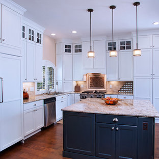 Traditional White Kitchen with Accent Island in Ebony Painted Finish