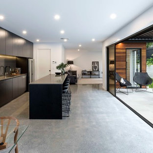 Inspiration for a contemporary galley open plan kitchen in Brisbane with an undermount sink, concrete floors, with island, flat-panel cabinets, dark wood cabinets, grey splashback, glass sheet splashback, stainless steel appliances, grey floor and grey benchtop.