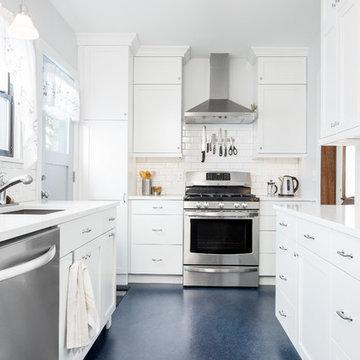 Tranquil White Galley Kitchen