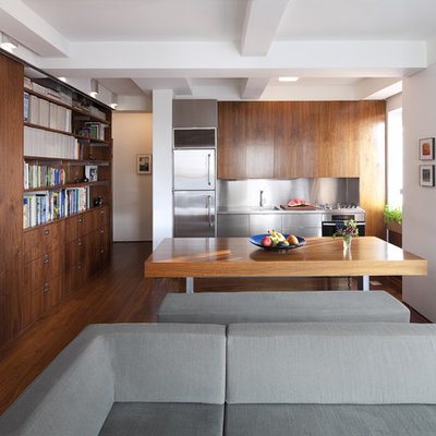 Inspiration for a modern single-wall kitchen remodel in New York