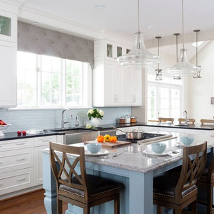 Transitional Blue Accent Kitchen