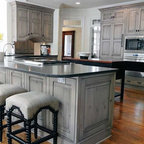Gray Stained Cabinets With Black Glaze Traditional
