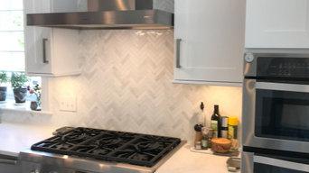 Transitional Custom White Kitchen Cabinets