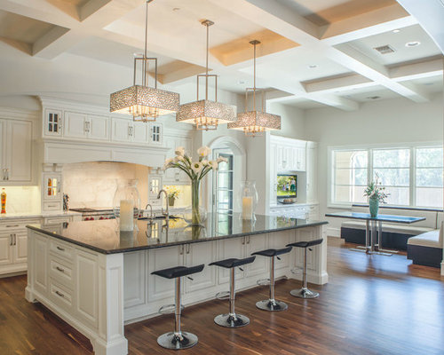 Elegant Inspiration For A Huge Transitional Medium Tone Wood Floor Eat In Kitchen  Remodel In Dallas