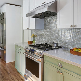 Mid-sized transitional galley separate kitchen in San Francisco with an undermount sink, shaker cabinets, green cabinets, quartz benchtops, multi-coloured splashback, glass tile splashback, stainless steel appliances, light hardwood floors, no island, brown floor and grey benchtop.