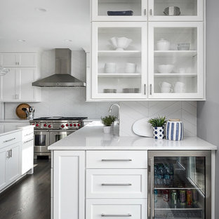 Large transitional kitchen inspiration - Kitchen - large transitional dark wood floor and brown floor kitchen idea in Chicago with white cabinets, white backsplash, porcelain backsplash, stainless steel appliances, an island, white countertops, glass-front cabinets and quartzite countertops