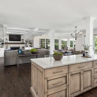 シカゴの大きいトランジショナルスタイルのおしゃれなキッチン (フラットパネル扉のキャビネット、白いキャビネット、クオーツストーンカウンター、グレーのキッチンパネル、セラミックタイルのキッチンパネル、シルバーの調理設備の、濃色無垢フローリング、茶色い床、白いキッチンカウンター) の写真