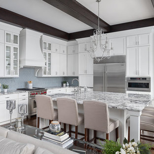 Inspiration for a large transitional l-shaped open plan kitchen in Chicago with a farmhouse sink, granite benchtops, porcelain splashback, stainless steel appliances, dark hardwood floors, with island, brown floor, multi-coloured benchtop, shaker cabinets, grey cabinets and grey splashback.