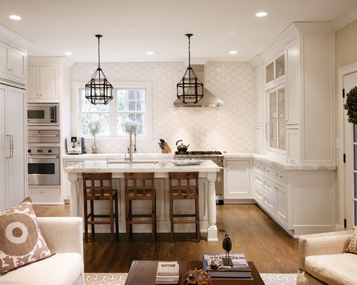Inspiration For A Transitional L Shaped Open Concept Kitchen Remodel In  Atlanta With White Cabinets
