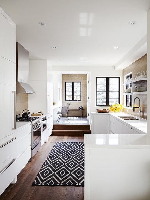 Lovely Transitional Dark Wood Floor Kitchen Photo In Toronto With An Undermount  Sink, Flat Panel