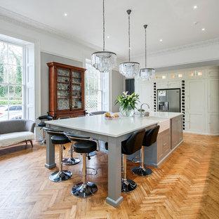 Imagen de cocina de galera, tradicional renovada, con fregadero sobremueble, armarios estilo shaker, puertas de armario grises, electrodomésticos de acero inoxidable, suelo de madera clara y una isla