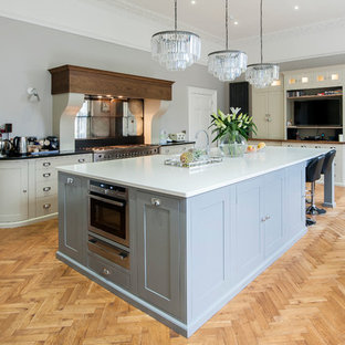 This is an example of a traditional l-shaped kitchen in Other with shaker cabinets, grey cabinets, stainless steel appliances, light hardwood flooring and an island.