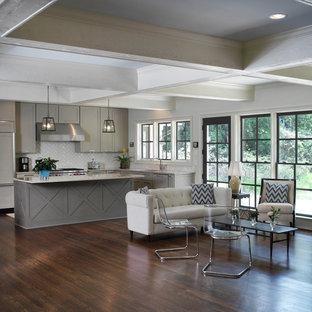 Kitchen - transitional kitchen idea in Atlanta with subway tile backsplash