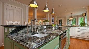 Transitional Kitchen, Delirium Granite Countertops