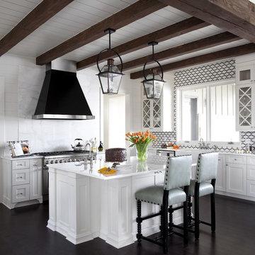 Transitional Kitchen Featuring Bevolo's French Quarter Yoke Lanterns