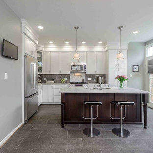 Transitional kitchen designs - Transitional gray floor kitchen photo in Other with stainless steel appliances