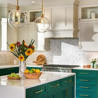 Transitional Kitchen- Green and white cabinets