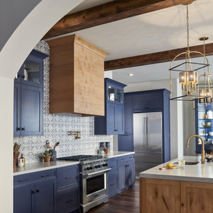 75 Beautiful Kitchen With Blue Cabinets And Mosaic Tile Backsplash Pictures Ideas April 2021 Houzz