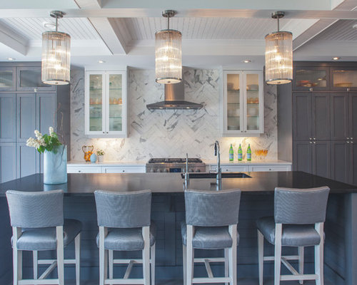 Inspiration For A Transitional Kitchen Remodel In Vancouver With Gray Cabinets White Backsplash An