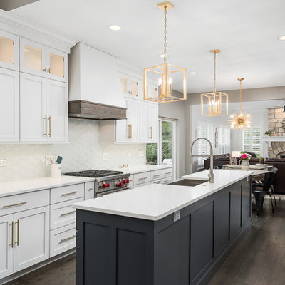 Inspiration for a mid-sized transitional galley dark wood floor and brown floor open concept kitchen remodel in Chicago with white cabinets, quartz countertops, white backsplash, stainless steel appliances, an island, white countertops, a farmhouse sink, shaker cabinets and glass tile backsplash