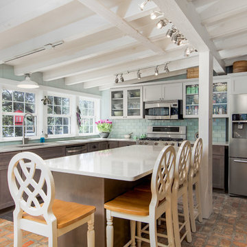 Transitional Kitchen Remodel Done in Both Stone and Boulder Color Cabinets
