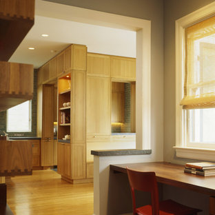 Transitional kitchen ideas - Example of a transitional kitchen design in San Francisco with shaker cabinets and light wood cabinets